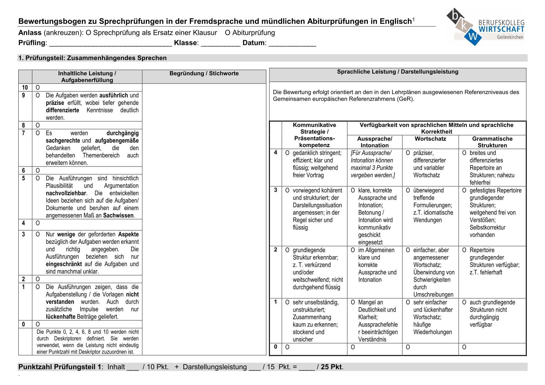 Leistungsbewertung - Berufskolleg Wirtschaft Geilenkirchen