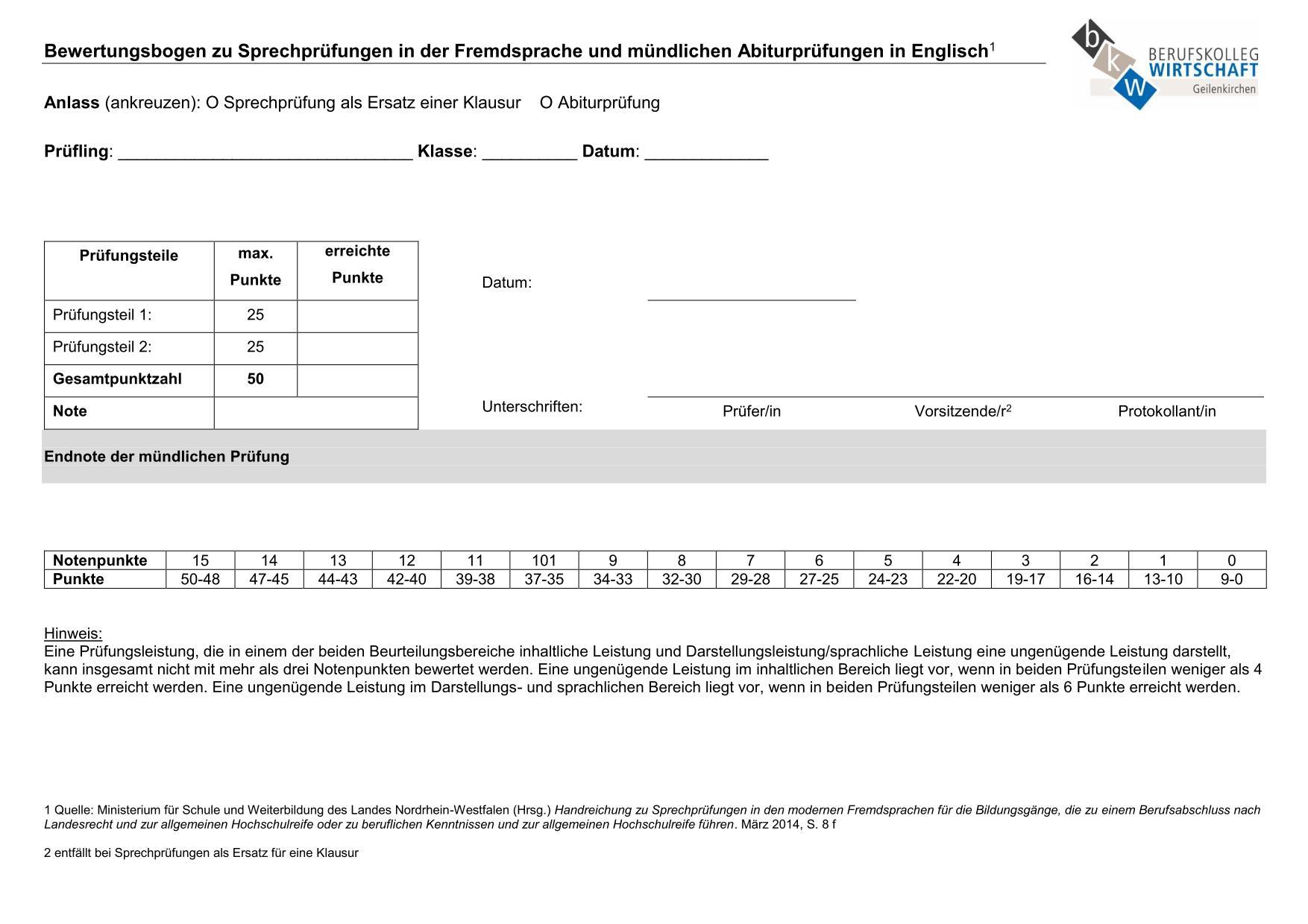 Leistungsbewertung Berufskolleg Wirtschaft Geilenkirchen